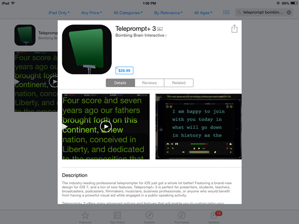 Teleprompter app