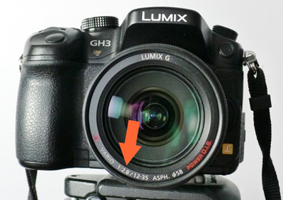 Maximum aperture on lens